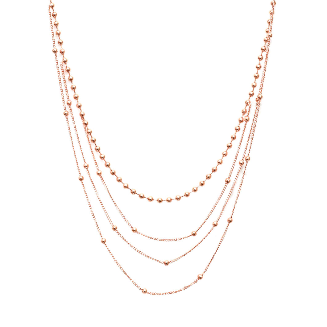 Rose Gold Layered Ball Chain Necklaces