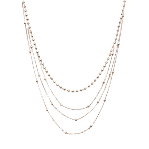 Silver Layered Ball Chain Necklaces