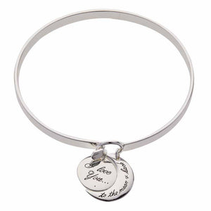 "Silver ""I Love You to the Moon and Back"" Charm Bangle"