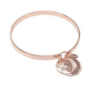 "Rose Gold ""I Love You to the Moon and Back"" Charm Bangle"