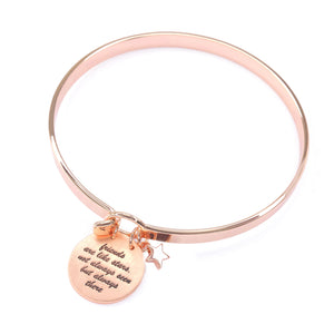 "Rose Gold ""Friends are like the stars. Not always seen but always there"" Bangle"