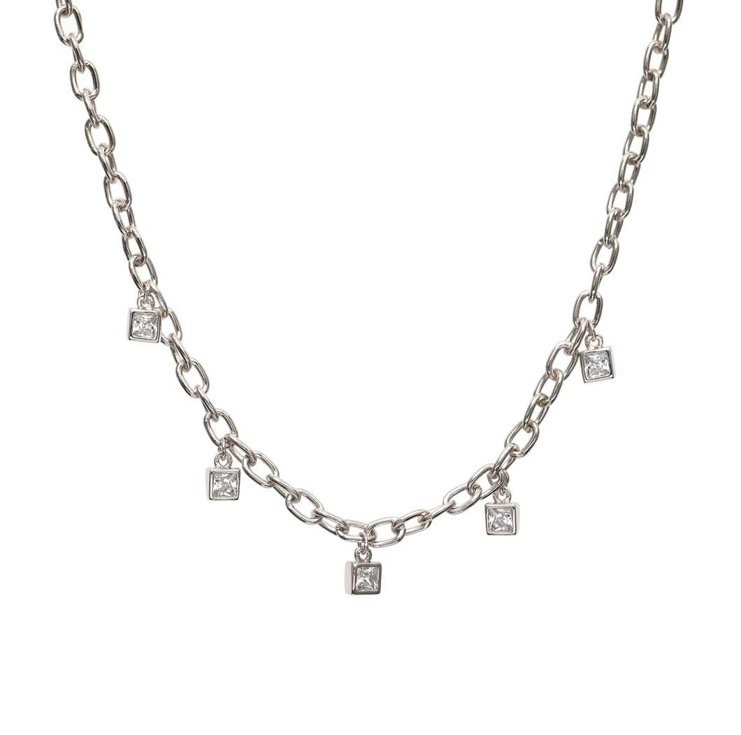 NEW!! Silver Chain with Crystal Diamond Charms
