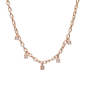 NEW!! Rose Gold Chain with Crystal Diamond Charms