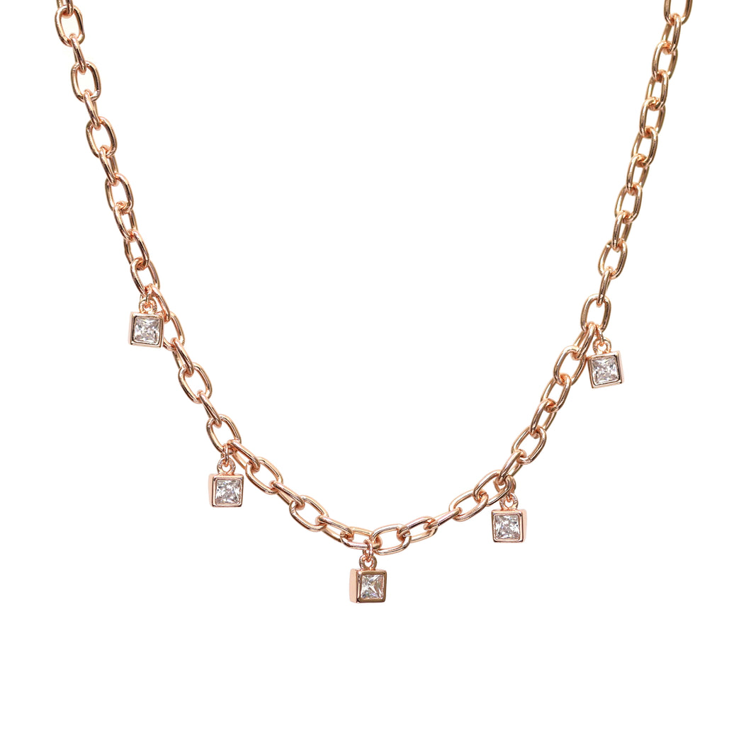 Rose Gold Chain with Crystal Diamond Charms