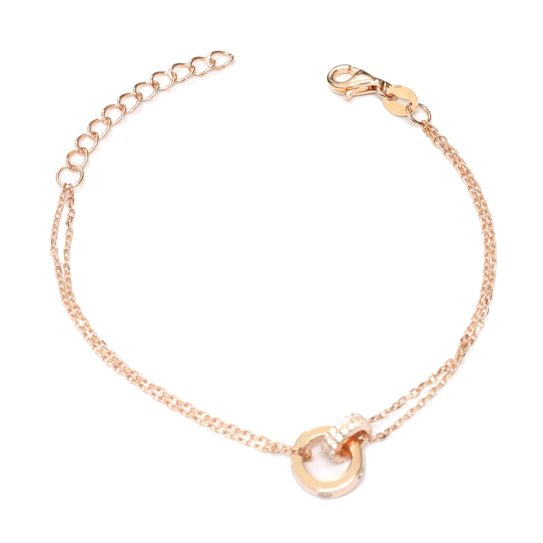 Rose Gold Interlocked Diamante Bracelet
