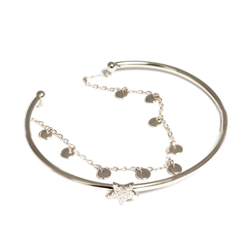 Silver Star Bangle with Chain Bracelet