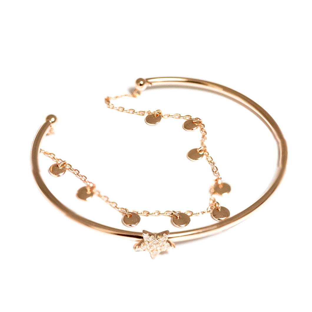 Dainty Rose Gold Star Bangle with Chain Bracelet