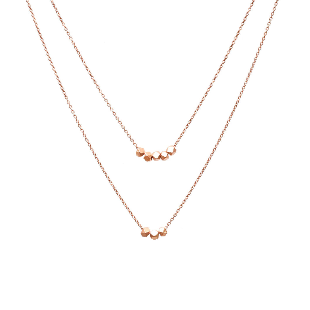 Double Layered Rose Gold Pebble Necklace