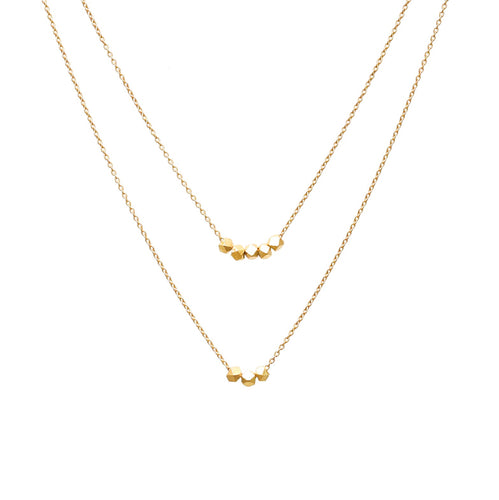 Double Layered Yellow Gold Pebble Necklace