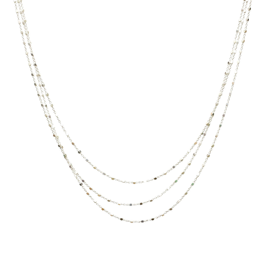 Diamond Cut Tri Layered Sterling Silver Necklace