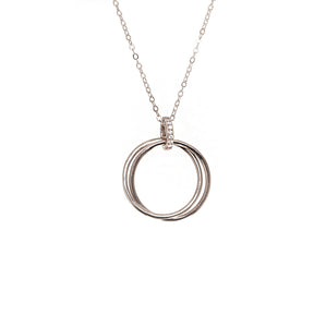 Interlocked Silver Circle Necklace with Cubic Zirconia Stones