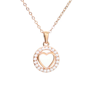 Rose Gold Love Heart Necklace with Diamante Stones