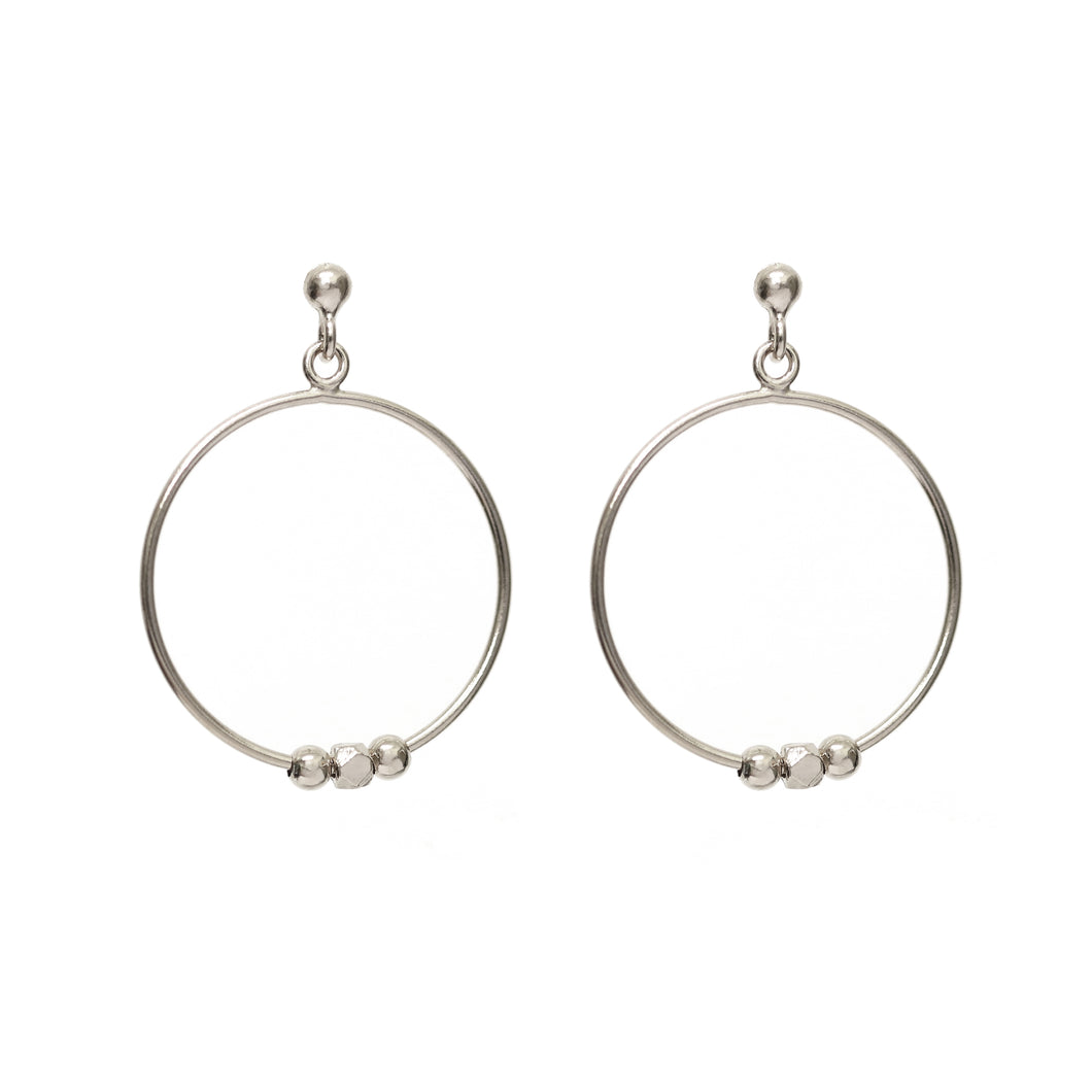 NEW!! Silver Pebble Circular Drop Earrings