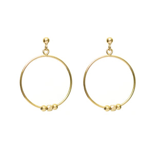 NEW!! Gold Pebble Circular Drop Earrings