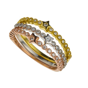 NEW!! Multi Layered Silver, Gold & Rose Gold Diamante Ring