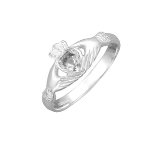 Traditional Sterling Silver Celtic Claddagh Ring with Cubic Zirconia