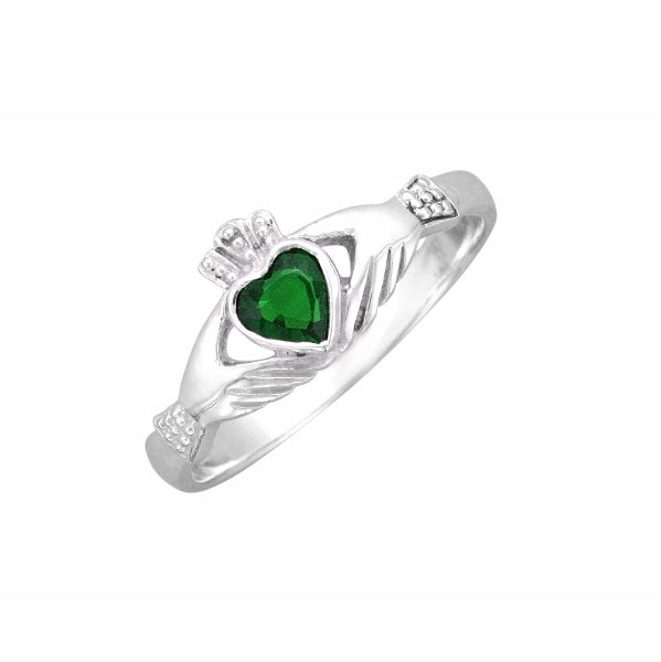 Traditional Sterling Silver Celtic Emerald Claddagh Ring