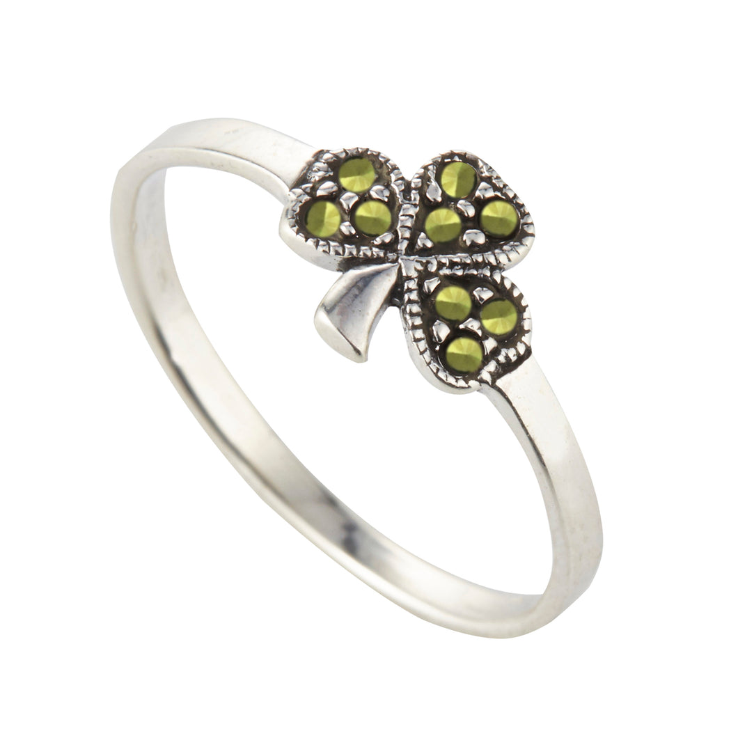 Sterling Silver Celtic Shamrock Ring with Marcasite
