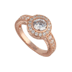 Rose Gold Cubic Zirconia Dress Ring