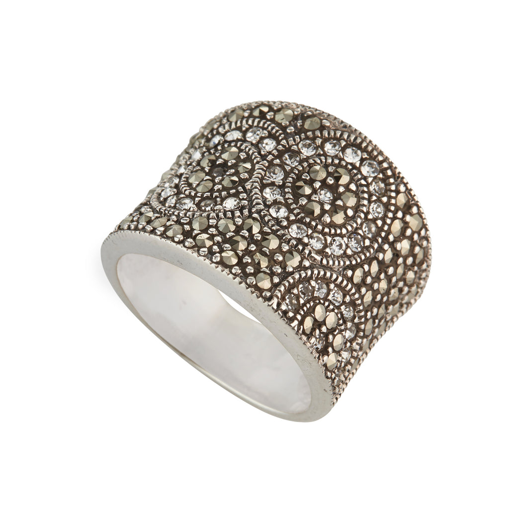 NEW!! Sterling Silver Diamante & Marcasite Ring