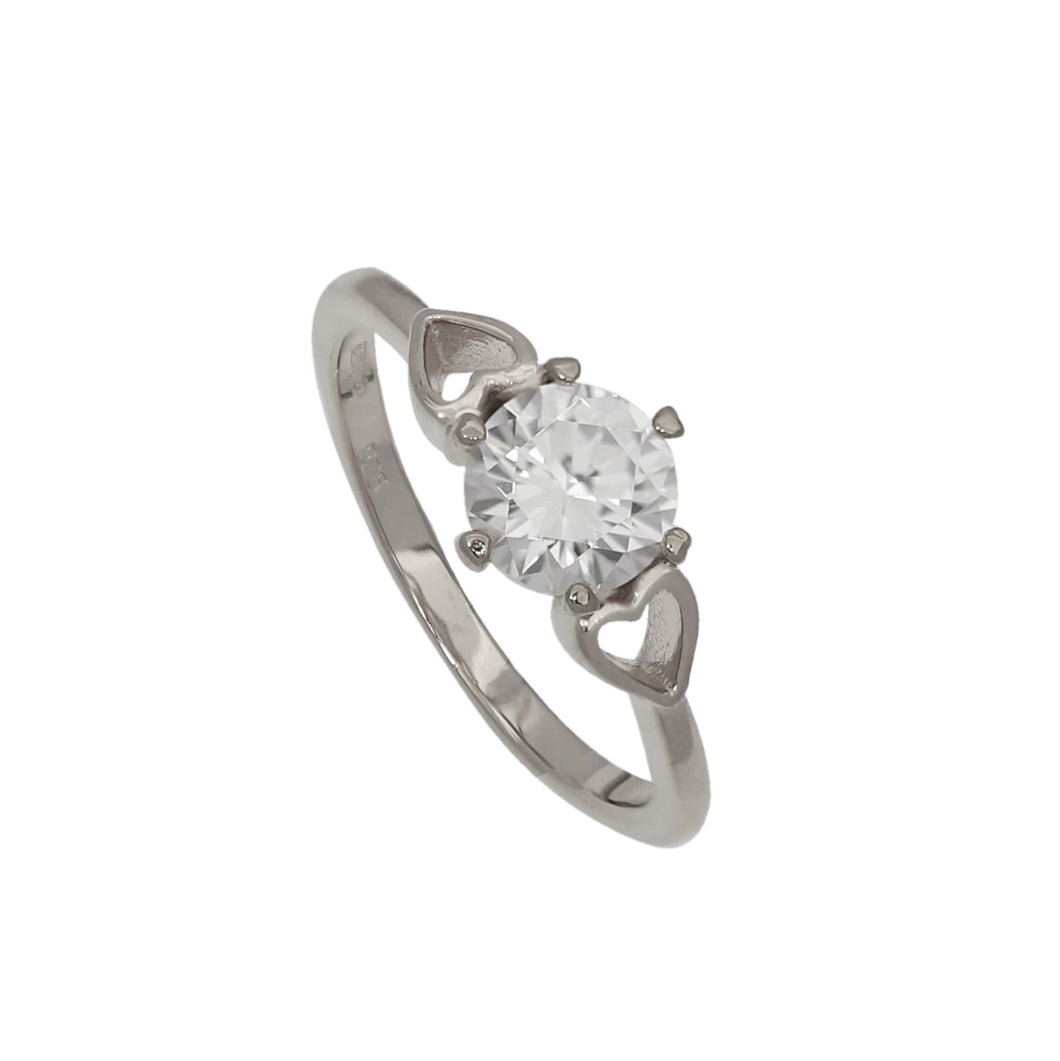 NEW!! Silver Love Crystal Diamond Ring