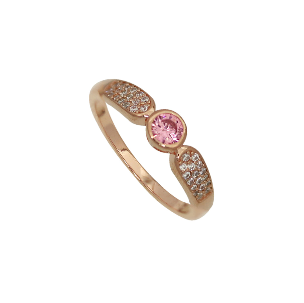 NEW!! Rose Gold Pink Crystal Diamond Ring