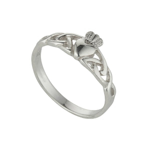 Traditional Sterling Silver Celtic Claddagh Ring with Trinity Knots