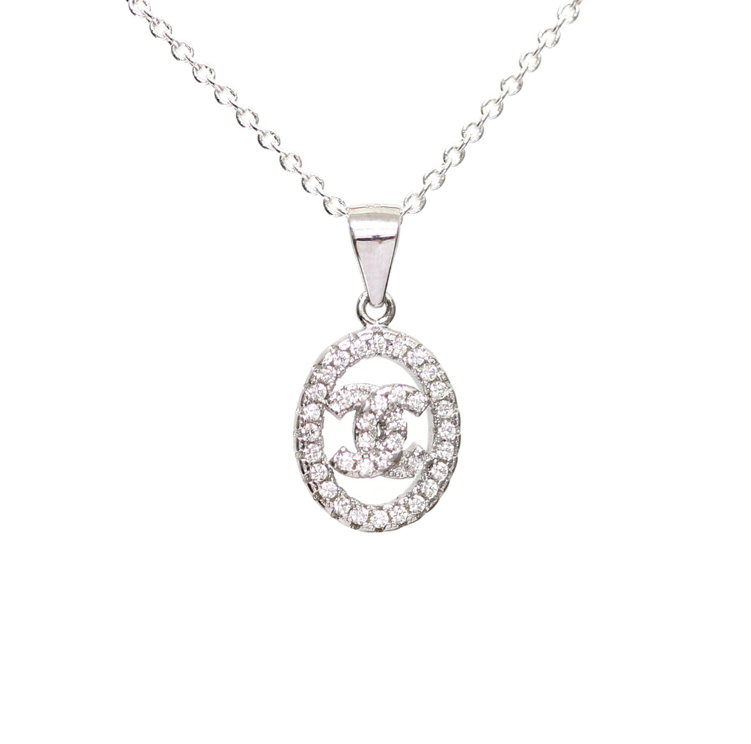 Dainty Sterling Silver Diamante CC Necklace
