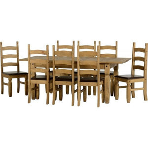 Corona Extending Dining Set with 8 chairs with brown seat pads