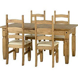 Corona Extending Dining Set with 4 chairs with cream seat pads