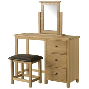 Burford Oak Dressing Table With Stool and Mirror