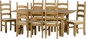 Corona Extending Dining Set with 8 chairs with cream seat pads