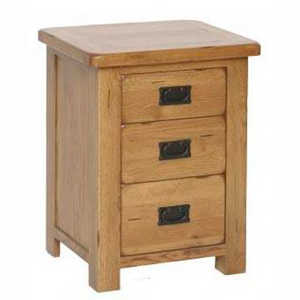Rustic Oak 3 Drawer High Bedside