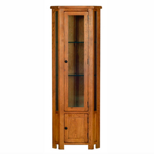 Rustic Oak Glazed Corner Display Cabinet