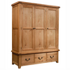 Somerset Oak Triple Wardrobe With 3 Drawers