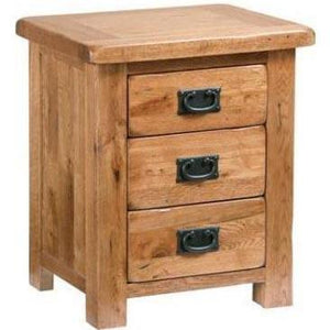 Rustic Oak 3 Drawer Bedside