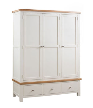 Dorset Painted Oak Triple Robe with 3 Drawers