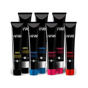 The range includes basic and natural colours, highlighters, and intensive fashion colours. Tones include: Ash, Gold, Copper, Mahogany, Violet, Pastel and High Lift Blondes. Ammonia Free Options Also Available for those with sensitive scalps.