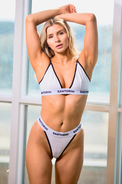 WHITE TRIANGLE BRA & THONG - Santorini Underwear