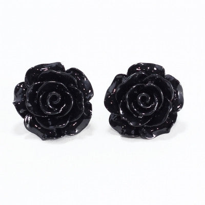 English rose studs rose black