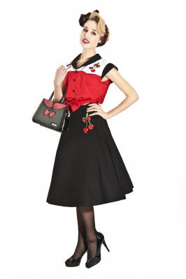 Melody Cherry Embroidery Skirt black