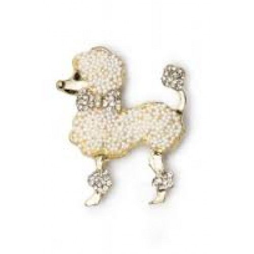Collectif poodle broach white/gold