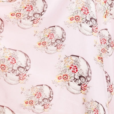 Sash scarf skull & floral print chic pink