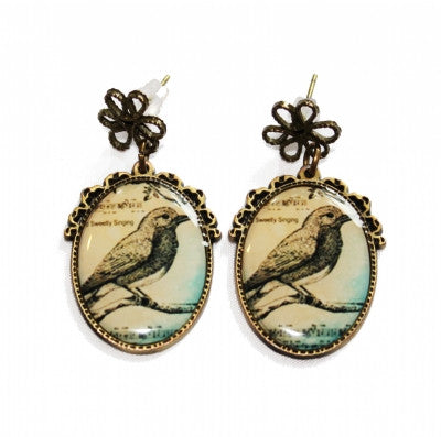 Bird cameo earrings