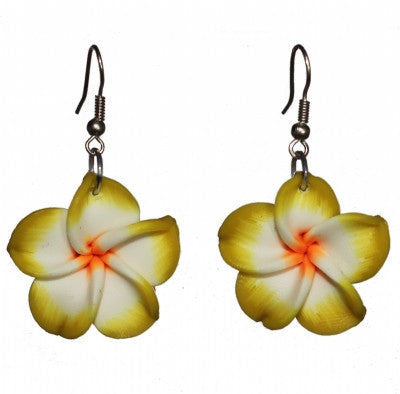 Hawaiian dangly earrings flower red