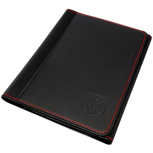 Abarth Black With Red Stitching Handbook Document Wallet Holder - Abarth Tuning