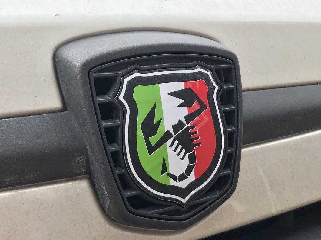 500/595 Tricolore Scorpion Badge overlays carbon option available. Set of two