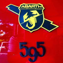 Load image into Gallery viewer, Abarth 500/595 Badge decals set of four including side badges, with Italian flag detail
