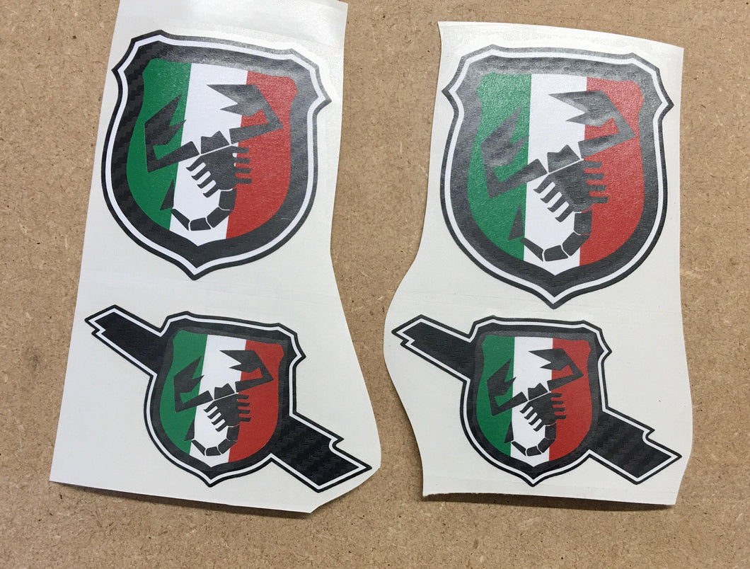 500/595 Tricolore Scorpion Badge overlays carbon option available. Set of four - Abarth Tuning