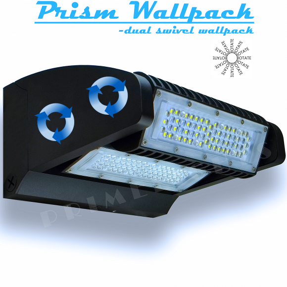 LED Wall Pack- Dual Swivel - 15,600 Lumens, Fully adjustable